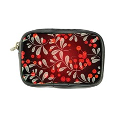 Beautiful Black And Red Florals  Coin Purse