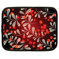 Beautiful Black And Red Florals  Netbook Case (xxl)