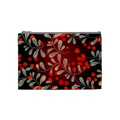 Beautiful Black And Red Florals  Cosmetic Bag (medium)