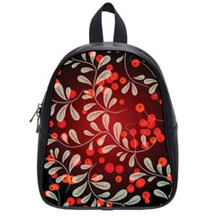 Beautiful Black And Red Florals  School Bag (small)