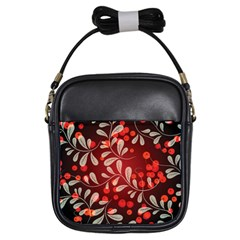 Beautiful Black And Red Florals  Girls Sling Bags