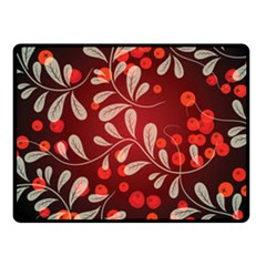 Beautiful Black And Red Florals  Fleece Blanket (small)