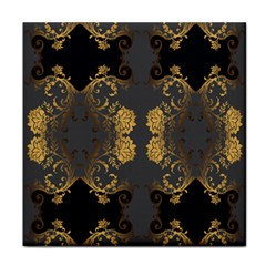 Beautiful Black And Gold Seamless Floral  Tile Coasters