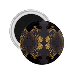 Beautiful Black And Gold Seamless Floral  2 25  Magnets