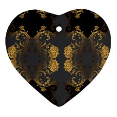 Beautiful Black And Gold Seamless Floral  Ornament (heart)