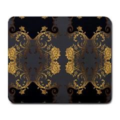 Beautiful Black And Gold Seamless Floral  Large Mousepads