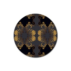 Beautiful Black And Gold Seamless Floral  Rubber Round Coaster (4 Pack)