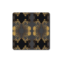 Beautiful Black And Gold Seamless Floral  Square Magnet