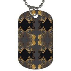 Beautiful Black And Gold Seamless Floral  Dog Tag (two Sides)