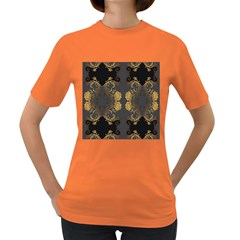 Beautiful Black And Gold Seamless Floral  Women s Dark T Shirt