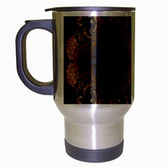 Beautiful Black And Gold Seamless Floral  Travel Mug (silver Gray)