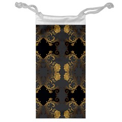 Beautiful Black And Gold Seamless Floral  Jewelry Bags