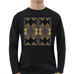 Beautiful Black And Gold Seamless Floral  Long Sleeve Dark T Shirts