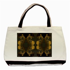 Beautiful Black And Gold Seamless Floral  Basic Tote Bag (two Sides)