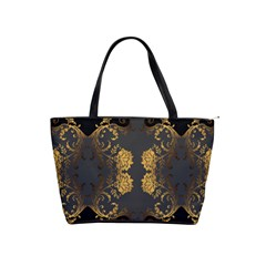Beautiful Black And Gold Seamless Floral  Shoulder Handbags