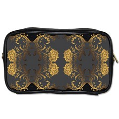 Beautiful Black And Gold Seamless Floral  Toiletries Bags 2 Side