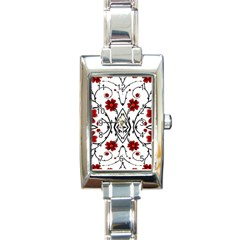 Beautiful Red Flowers Seamless Rectangle Italian Charm Watch