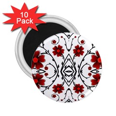 Beautiful Red Flowers Seamless 2 25  Magnets (10 Pack)