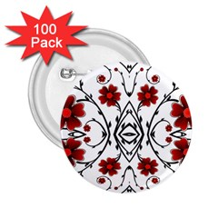 Beautiful Red Flowers Seamless 2 25  Buttons (100 Pack)