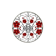 Beautiful Red Flowers Seamless Hat Clip Ball Marker