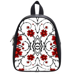 Beautiful Red Flowers Seamless School Bag (small)