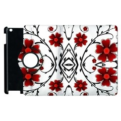 Beautiful Red Flowers Seamless Apple Ipad 2 Flip 360 Case by flipstylezdes
