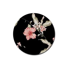 Beautiful Tropical Black Pink Florals  Rubber Round Coaster (4 Pack)