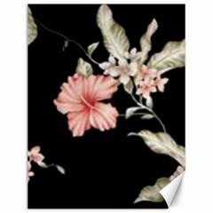 Beautiful Tropical Black Pink Florals  Canvas 12  X 16
