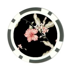 Beautiful Tropical Black Pink Florals  Poker Chip Card Guard