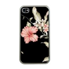 Beautiful Tropical Black Pink Florals  Apple Iphone 4 Case (clear) by flipstylezdes