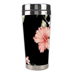Beautiful Tropical Black Pink Florals  Stainless Steel Travel Tumblers by flipstylezdes