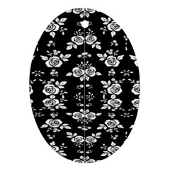 Black And White Florals Background  Ornament (oval)