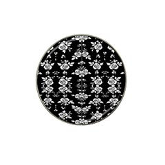 Black And White Florals Background  Hat Clip Ball Marker (4 Pack)