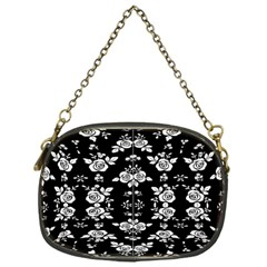 Black And White Florals Background  Chain Purses (one Side)