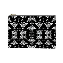 Black And White Florals Background  Cosmetic Bag (large)