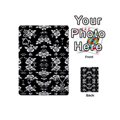 Black And White Florals Background  Playing Cards 54 (mini)