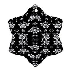 Black And White Florals Background  Snowflake Ornament (two Sides)