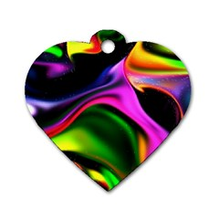 Colorful Smoke Explosion Dog Tag Heart (two Sides) by flipstylezdes