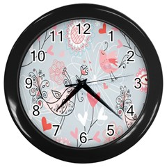 Cute Love Birds Valentines Day Theme  Wall Clocks (black)