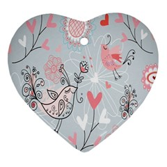 Cute Love Birds Valentines Day Theme  Heart Ornament (two Sides)