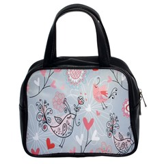 Cute Love Birds Valentines Day Theme  Classic Handbags (2 Sides)