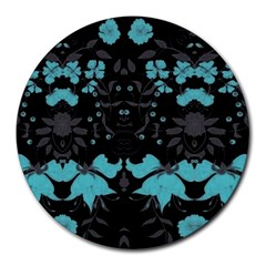 Blue Green Back Ground Floral Pattern Round Mousepads