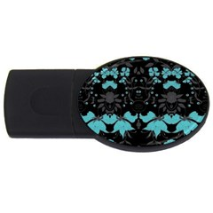 Blue Green Back Ground Floral Pattern Usb Flash Drive Oval (4 Gb)