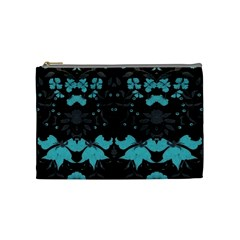 Blue Green Back Ground Floral Pattern Cosmetic Bag (medium)