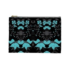 Blue Green Back Ground Floral Pattern Cosmetic Bag (large)