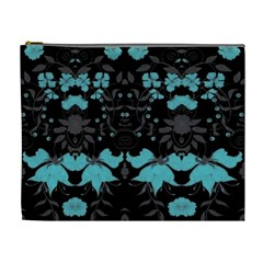 Blue Green Back Ground Floral Pattern Cosmetic Bag (xl)