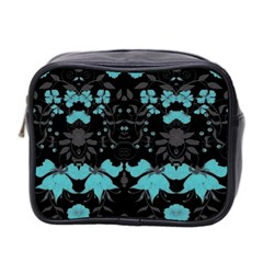 Blue Green Back Ground Floral Pattern Mini Toiletries Bag 2 Side