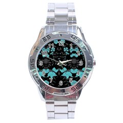 Blue Green Back Ground Floral Pattern Stainless Steel Analogue Watch