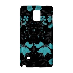 Blue Green Back Ground Floral Pattern Samsung Galaxy Note 4 Hardshell Case