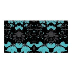 Blue Green Back Ground Floral Pattern Satin Wrap